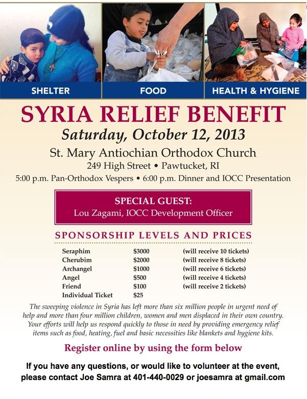 Syria Relief Benefit Flyer